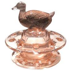 Heisey 2-Piece Flamingo Glass Duck Floral Block