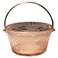 Fostoria Rose (Pink) Irridized Palm Leaf Brocade #73 Whip Cream Pail