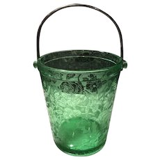 Fostoria #289 Green Paradise Brocade Etched Ice Bucket