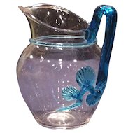 Steuben Glass Small Cream or Milk Pitcher with applied Blue Mat-Su-No-Ke Ornament