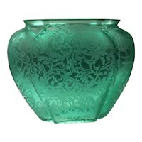 Consolidated Green Florentine #2200 Pillow Shaped Vase