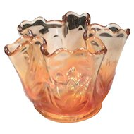 """Fenton Golden Marigold Carnival Glass """"Water Lily & Cattails"""" Whimsey Bowl"""