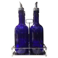 Cambridge Cobalt Colored 28 Ounce Bar Bottle Set in Unmarked Handled Metal Holder