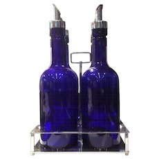 Cambridge Cobalt Colored 28 Ounce Bar Bottle Set in Unmarked Handled Metal Holder