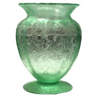 Fostoria Green Paradise Brocade #289 Footed Urn Vase