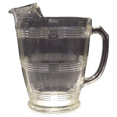 Hazel Atlas Crystal 54 Ounce Criss Cross Pattern Jug