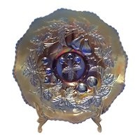 "Northwood Cobalt Blue Carnival ""Three Fruits"" 9"" Plate"