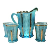 "Northwood Blue Opalescent & Gold ""Drapery"" 5-Piece Water Set - Pitcher & 4 Tumblers"