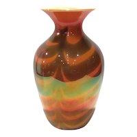 Imperial Lead Lustre Vase #417-22 Orange Glaze with Drag Loops/Festoons Decoration