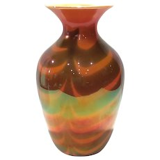 Imperial Lead Lustre Vase #417-22 Orange Glaze with Drag Loops/Festoons Decoration