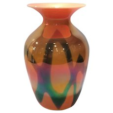 "Imperial Lead Lustre Orange Glaze #417 - Abstract Decorated 7.5"" Vase"