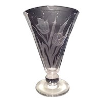Tiffin Crystal #17350 Fan Vase with Undocumented Sand Carved Design