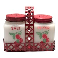 "Tip Novelty Company White Milk Glass ""Cherries"" Rangette Salt & Pepper Set in Metal Holder"