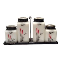 "Tipp Novelty Company White Milk Glass ""Cattails"" 5-Piece Rangette Set"