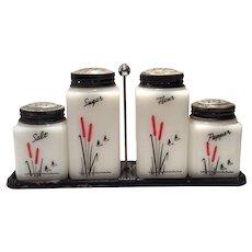 "Tipp Novelty Company White Milk Glass ""Cattails"" 5-Piece Rangette Set"