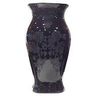 "Cambridge 11-5/8"" Ebony #3400/17 Vase with Apple Blossom #744 Etch"