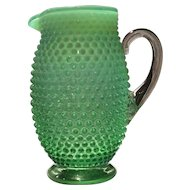 Fenton Green Opalescent Hobnail No. 389 - 48 Ounce Tankard Jug/Pitcher