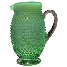 Fenton Green Opalescent Hobnail No. 389 - 48 Ounce Tankard Jug/Pitcher
