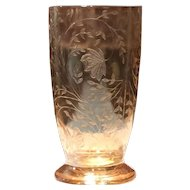 Jeannette Carnival Marigold Irridescent Florigold 15 Ounce Footed Tumbler
