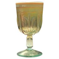 Fenton for Levay Aqua Opalescent Carnival Cactus Pattern 10 ounce Goblets