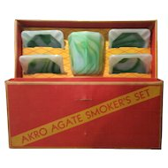 "Akro Agate Green & White Marbleized ""Smokers Set"" in Original Box"