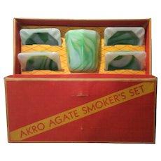 "Akro Agate Green & White Marbleized ""Smokers Set"" in Original Box"