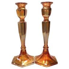 "Fenton Gold Irridized on Crystal 10-1/2"" (H) Pattern #349 Candlesticks"