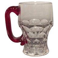 Duncan Miller Crystal & Ruby Red Handled 12 Ounce Mug or Stein