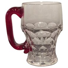 Duncan Miller Crystal & Ruby Red Handled 12 Ounce Mug or Stein