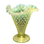 "Fenton Topaz Opalescent 7-1/2"" Flared Triangle-Shaped Vase"