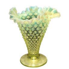 "Fenton Topaz Opalescent 7-1/2"" Flared Triangle-Shaped Vase"