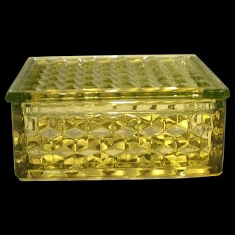 Fostoria Canary Yellow American Pattern Handkerchief Box & Lid