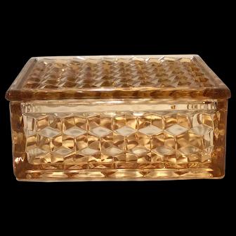 Fostoria Amber American Pattern Handkerchief Box & Lid