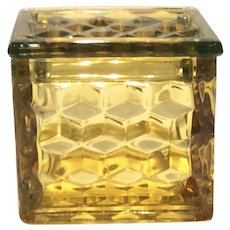 Fostoria Canary Yellow American Pattern Square Puff Box & Lid