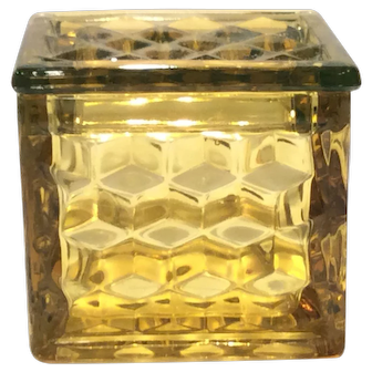 Fostoria Canary Yellow American Pattern Square Puff Box & Lid