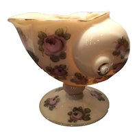 "Cambridge Crown Tuscan #SS44 - 6"" Sea Shell Center Vase with Charleton Roses Decoration"
