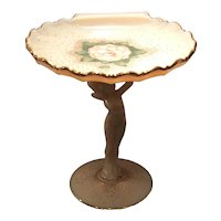 "Cambridge Crown Tuscan #SS11 - 7-3/4"" Statuesque Stem with Sea Shell Compote & Charleton's Gardenia Decoration"