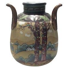 Nippon Tri-Handled Vase with Woodland Scene