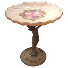 "Cambridge Crown Tuscan #SS11 - 7-3/4"" (H) Statuesque Sea Shell Compote Decorated with Charleton Roses"