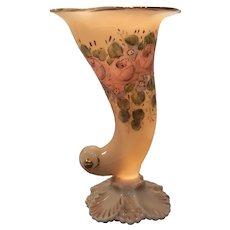"Cambridge Crown Tuscan #SS47 - 9.5"" (H) Sea Shell Cornucopia with Charleton Roses Decoration"