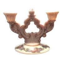 Cambridge Crown Tuscan #647 2-Lite Candelabrum (single) with Charleton Roses Decoration