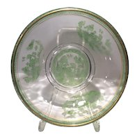 """Cambridge Crystal 9.25"""" Bowl with Green Enameled Willow Decoration & Gold Trim"""