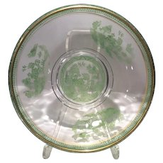 "Cambridge Crystal 9.25"" Bowl with Green Enameled Willow Decoration & Gold Trim"