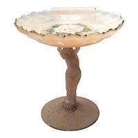 "Cambridge Crown Tuscan #SS10 - 5.25"" (H) Statuesque Sea Shell Compote with Charleton Gardenia Decoration"