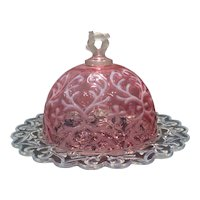 Northwood Cranberry Opalescent Butter with Spanish Lace Pattern