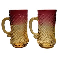 New England Glass Co. Amberina Handled Mugs - Set of 2