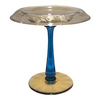 Sinclaire Glass Company Blue & Amber Compote with Floral Cutting