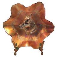 Dugan Diamond Marigold Carnival Glass Bowl with Pony & Roman Key