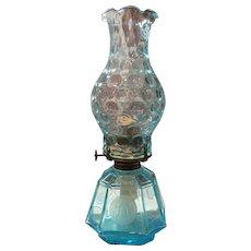"Fostoria Azure Blue Coin 13-1/2"" Coach Oil Lamp"