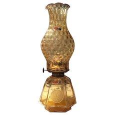 "Fostoria Amber Coin 13-1/2"" Coach Oil Lamp"